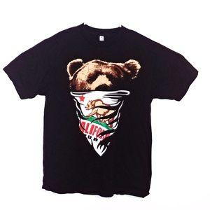 Men's Cali Bandana Bear Black T Shirt California R